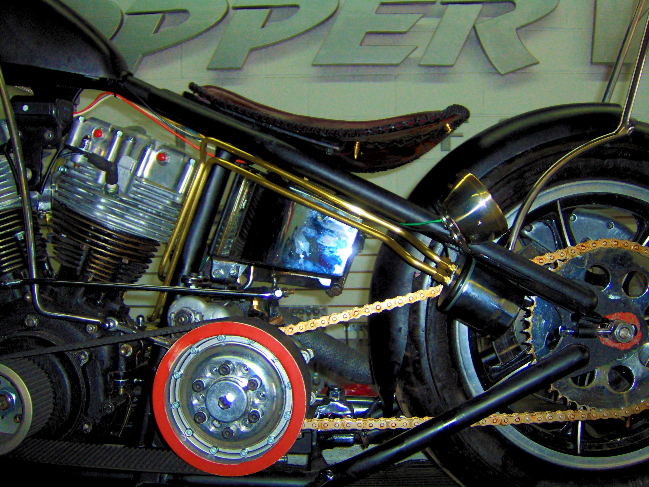 custom made brass oil lines harley